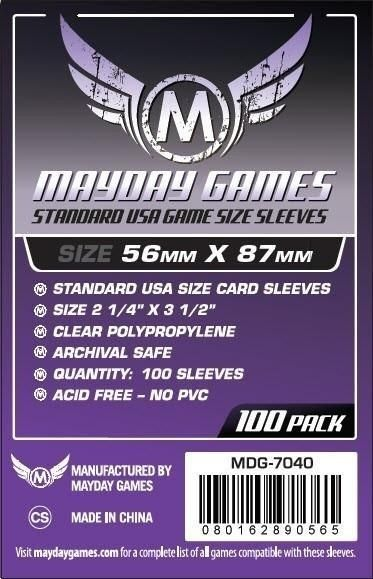 Sleeves Mayday Standard USA Card Sleeves (56x87mm) - Standard Protection (Com 100 protetores de cartas)  - Mercado RPG