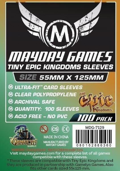 "Sleeves Mayday ""Tiny Epic Kingdoms"" Card Sleeves (88x125mm) - Standard Protection ( Com 100 protetores de cartas)  - Mercado RPG"