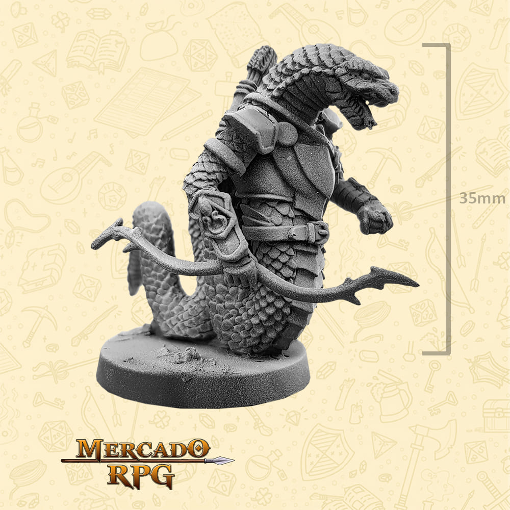 Snakeman - Arco e Flecha - Basilisco Miniaturas - Metal Branco - Miniaturas para RPG