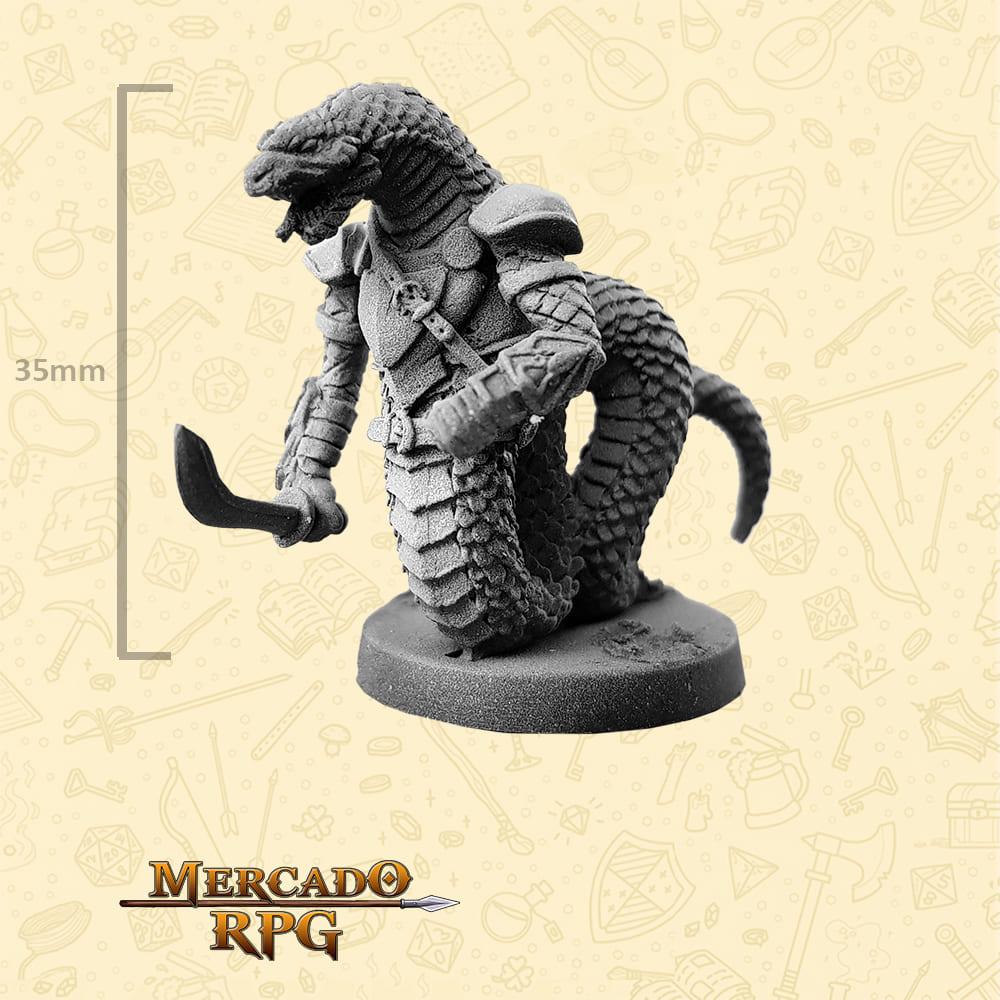 Snakeman - Espada - Basilisco Miniaturas - Metal Branco - Miniaturas para RPG