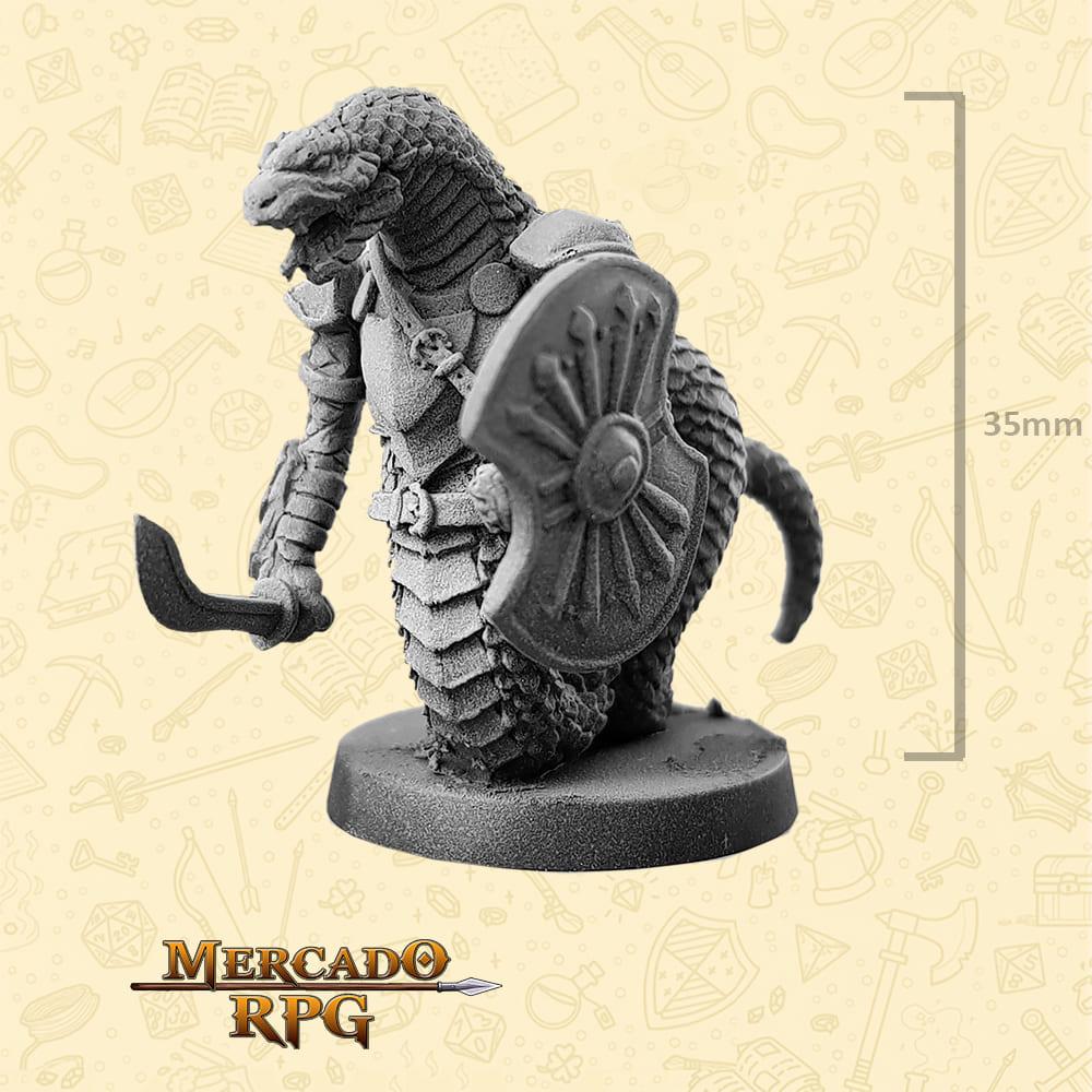 Snakeman - Espada e Escudo - Basilisco Miniaturas - Metal Branco - Miniaturas para RPG