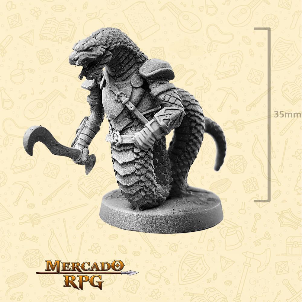 Snakeman - Espada Gancho - Basilisco Miniaturas - Metal Branco - Miniaturas para RPG