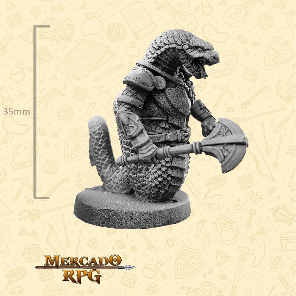 Snakeman - Machado - Basilisco Miniaturas - Metal Branco - Miniaturas para RPG