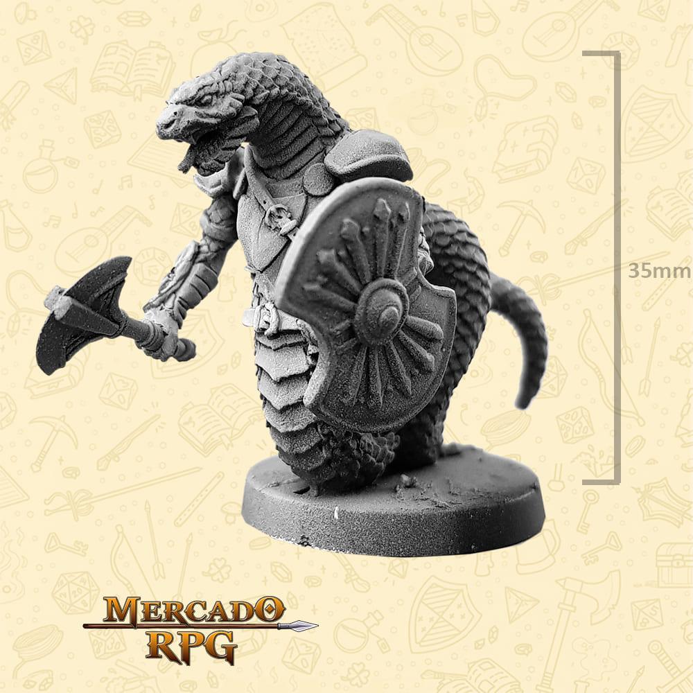 Snakeman - Machado e Escudo - Basilisco Miniaturas - Metal Branco - Miniaturas para RPG