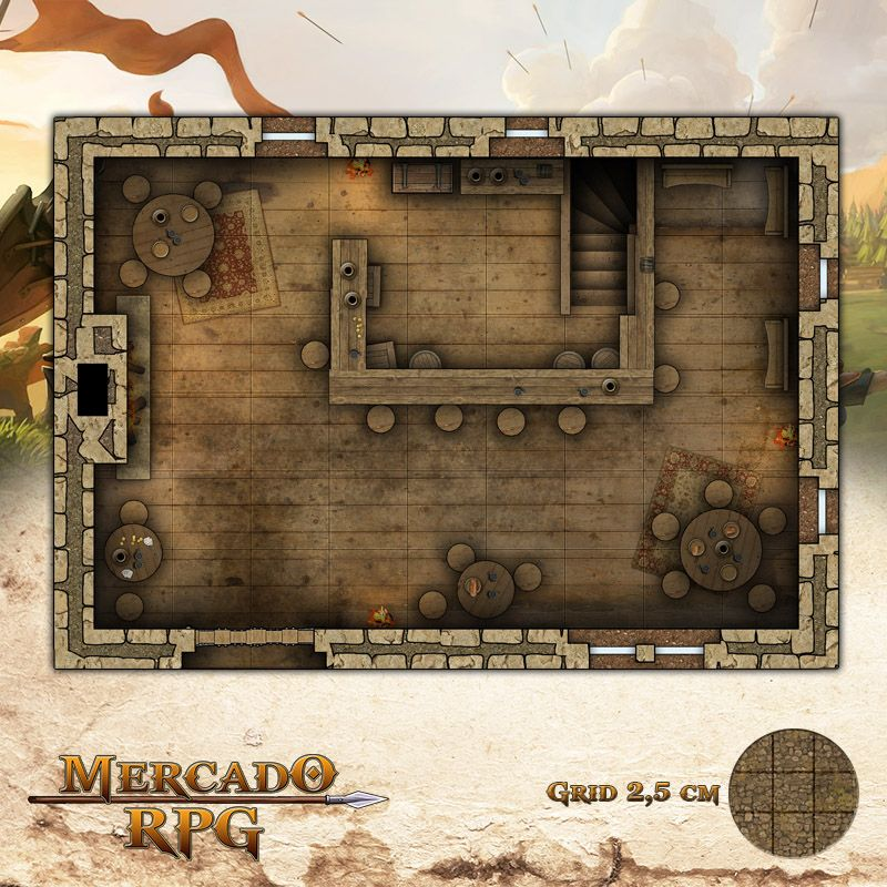 Taverna 25x17,5 - RPG Battle Grid D&D  - Mercado RPG