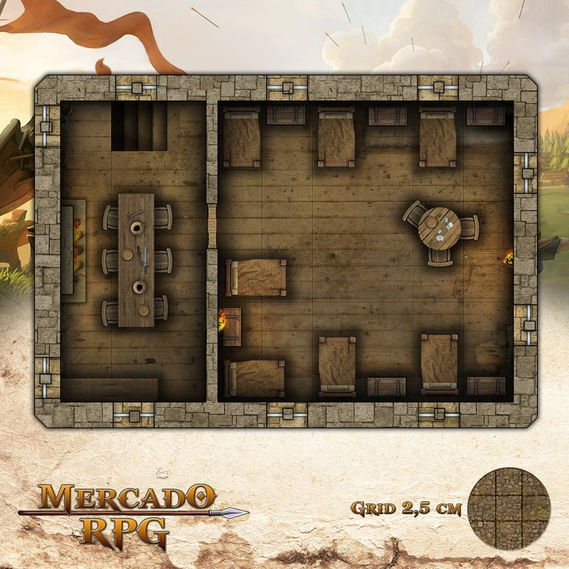 Taverna - Andar Superior 25x17,5 Grid de Batalha - RPG Battle Grid D&D