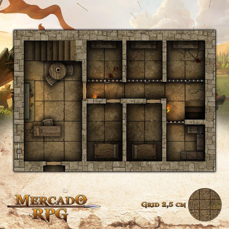 Taverna - Celas 25x17,5 Grid de Batalha - RPG Battle Grid D&D