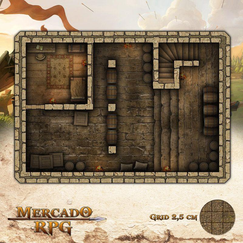 Taverna - Porão 25x17,5 Grid de Batalha - RPG Battle Grid D&D