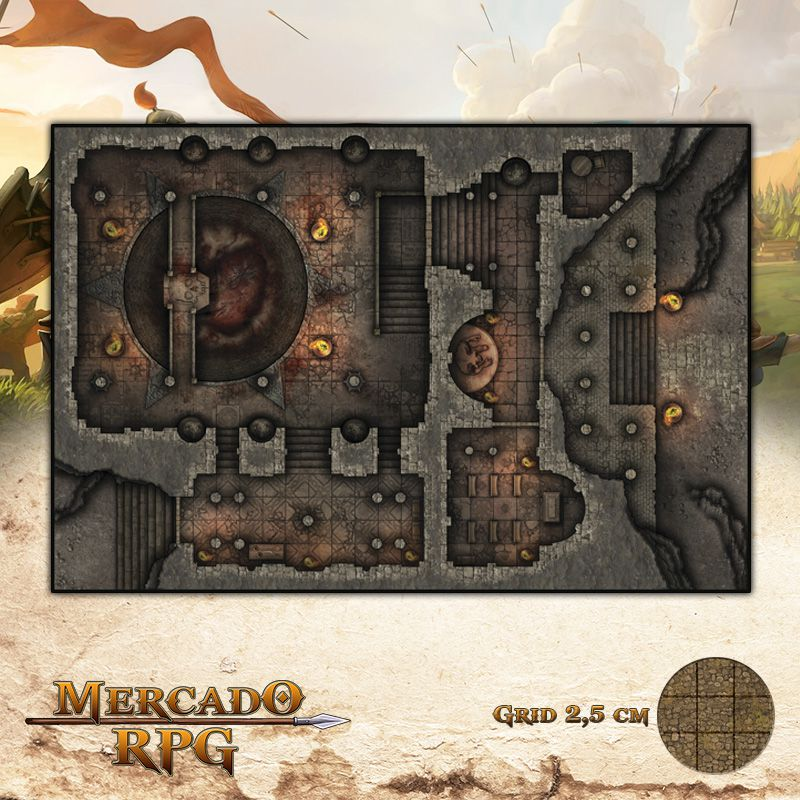 Templo Banido 50x75 Grid de Batalha - RPG Battle Grid D&D