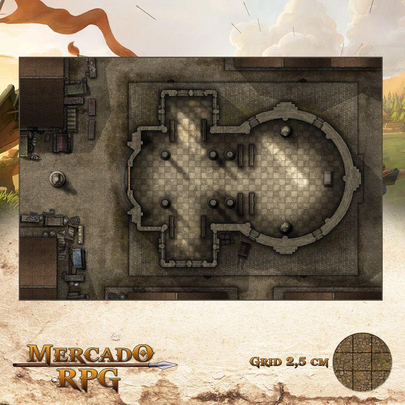 Templo da Cidade 50x75 Grid de Batalha - RPG Battle Grid D&D