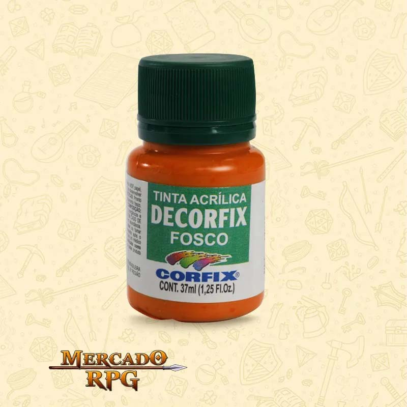 Tinta Acrílica Fosca Decorfix - Laranja Cádmio 37ml - Corfix - RPG