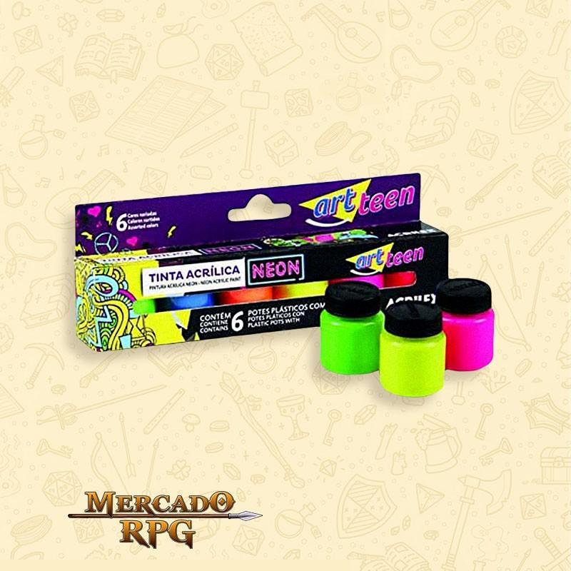 Tinta Acrílica Fosca Neon - art teen  - Mercado RPG