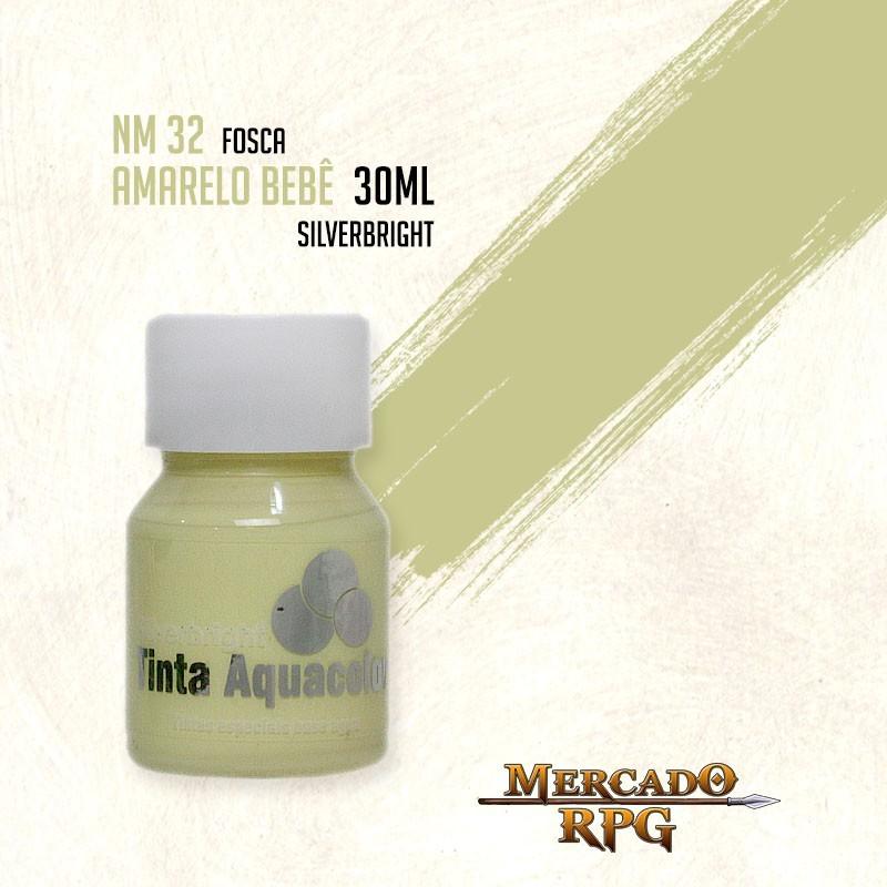 Tinta Fosca Aquacolor - Amarelo Bebê 30ml Silverbright - RPG