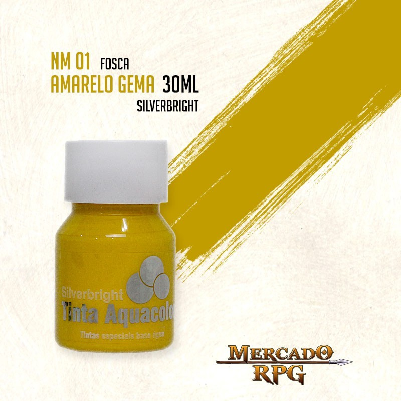 Tinta Fosca Aquacolor - Amarelo Gema 30ml Silverbright - RPG