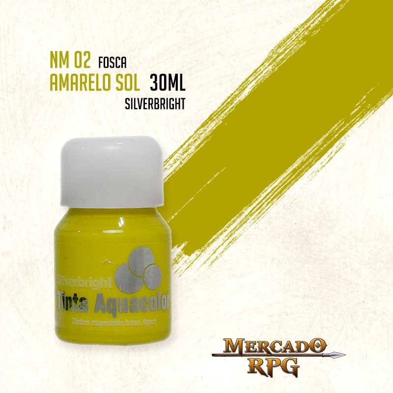Tinta Fosca Aquacolor - Amarelo Sol 30ml Silverbright - RPG
