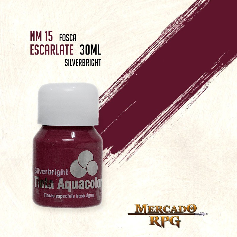 Tinta Fosca Aquacolor - Escarlate 30ml Silverbright - RPG