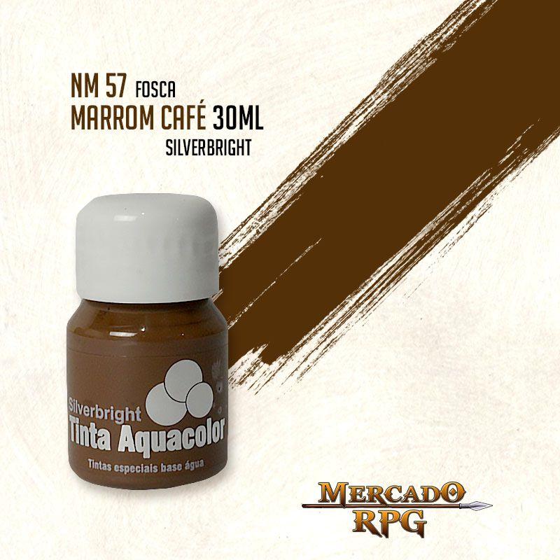 Tinta Fosca Aquacolor - Marrom Café 30ml Silverbright - RPG