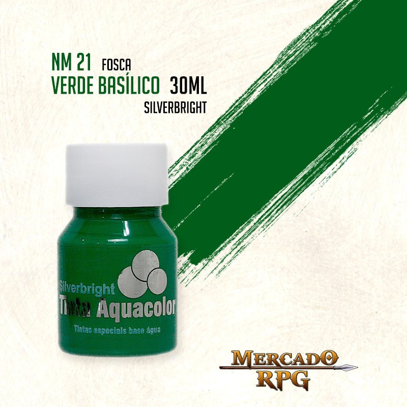 Tinta Fosca Aquacolor - Verde Basílico 30ml Silverbright - RPG