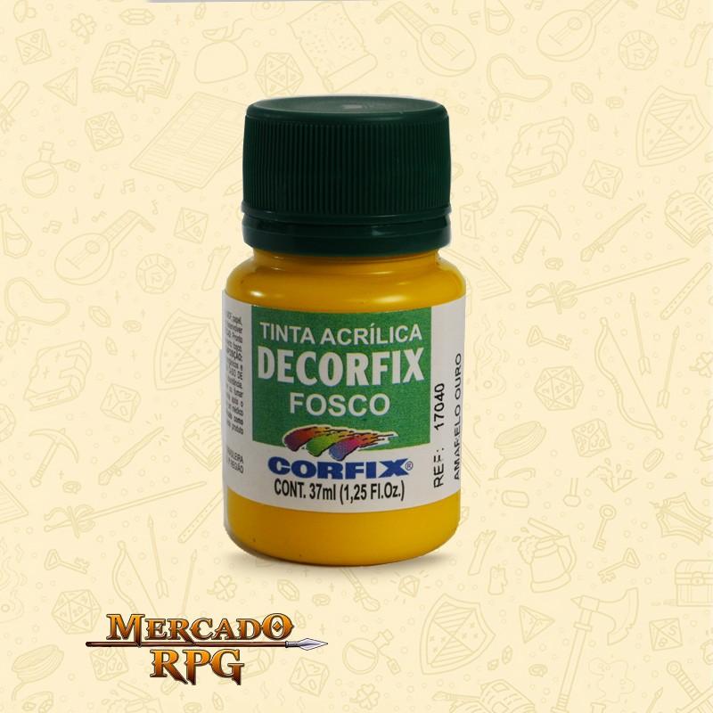 Tinta Acrílica Fosca Decorfix - Amarelo Ouro 37ml - Corfix - RPG