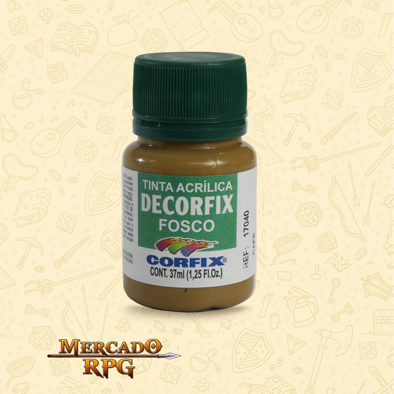 Tinta Acrílica Fosca Decorfix - Café 37ml - Corfix - RPG