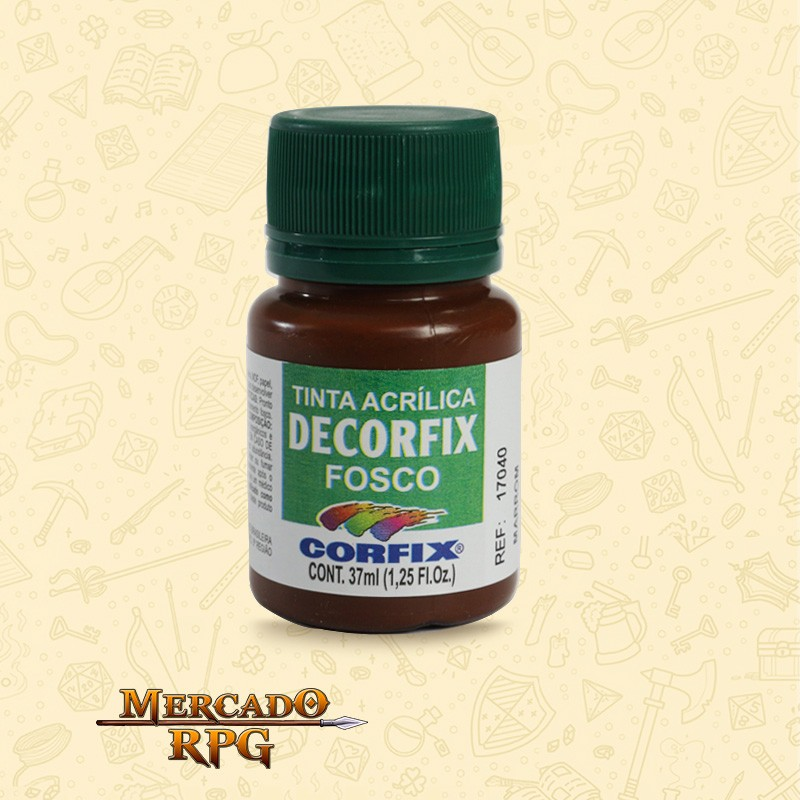 Tinta Acrílica Fosca Decorfix - Marrom 37ml - Corfix - RPG