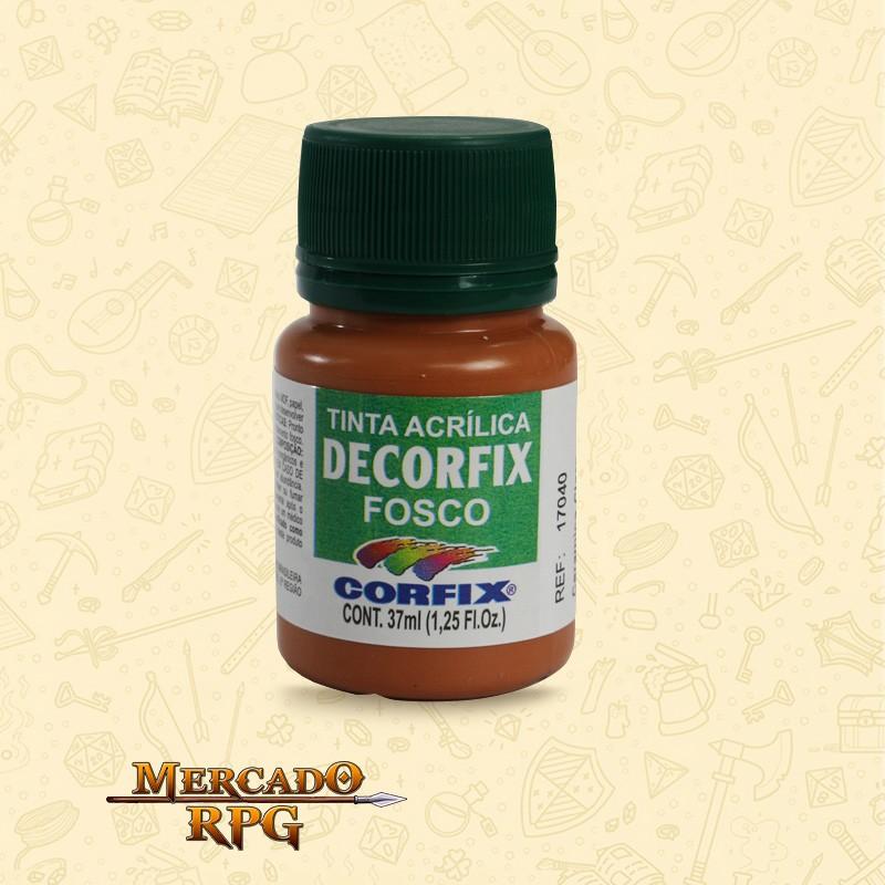 Tinta Acrílica Fosca Decorfix - Terra Siena Queimada 37ml - Corfix - RPG