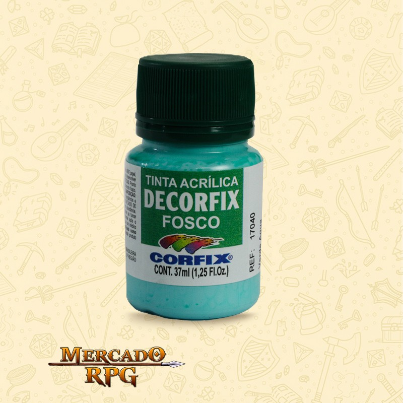 Tinta Acrílica Fosca Decorfix - Verde Água 37ml - Corfix - RPG