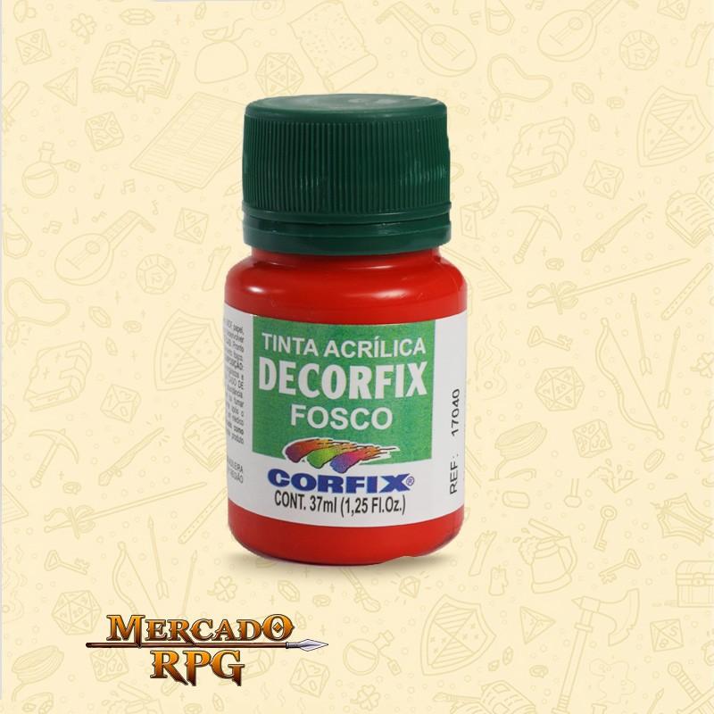 Tinta Acrílica Fosca Decorfix - Vermelho Vivo 37ml - Corfix - RPG