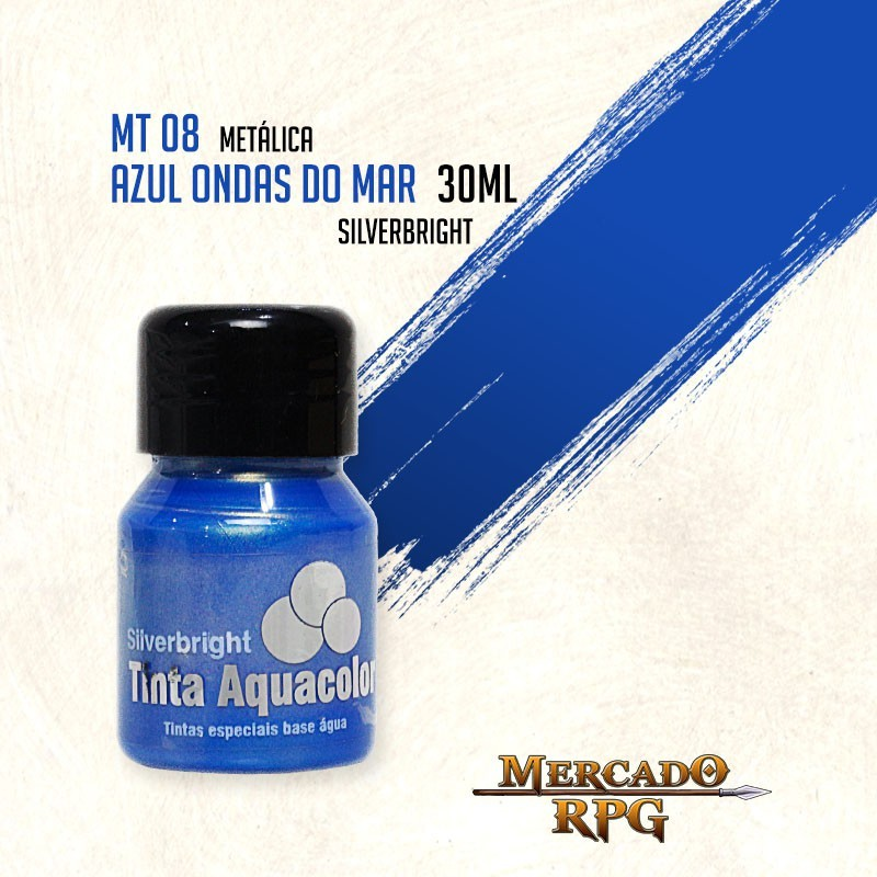 Tinta Aquacolor Metálica - Azul Ondas do Mar 30ml Silverbright - RPG