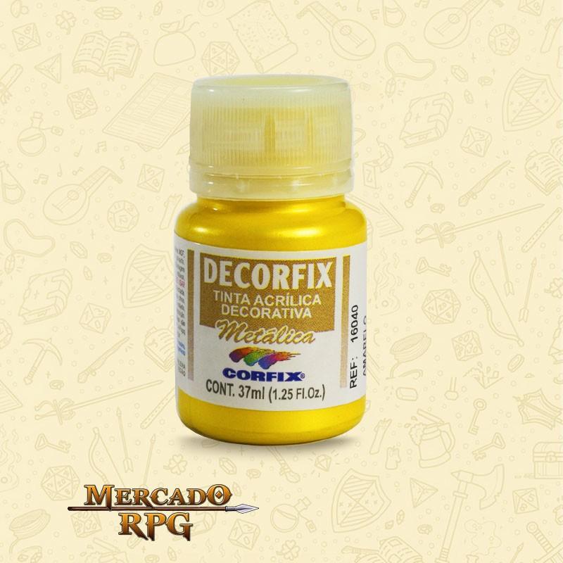 Tinta Metálica Decorfix - Amarelo 37ml - Corfix - RPG
