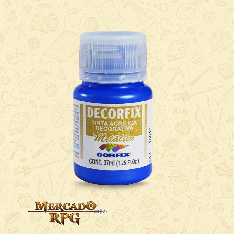 Tinta Metálica Decorfix - Azul 37ml - Corfix - RPG