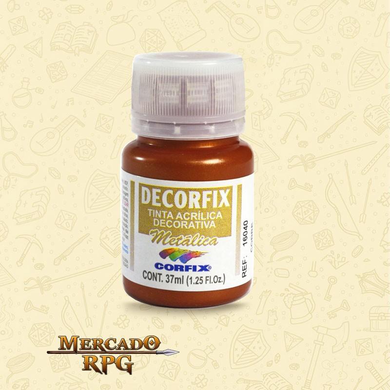 Tinta Metálica Decorfix - Cobre 37ml - Corfix - RPG