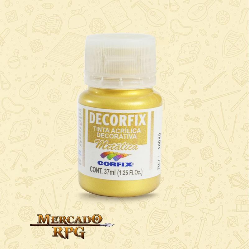 Tinta Metálica Decorfix - Ouro 37ml - Corfix - RPG