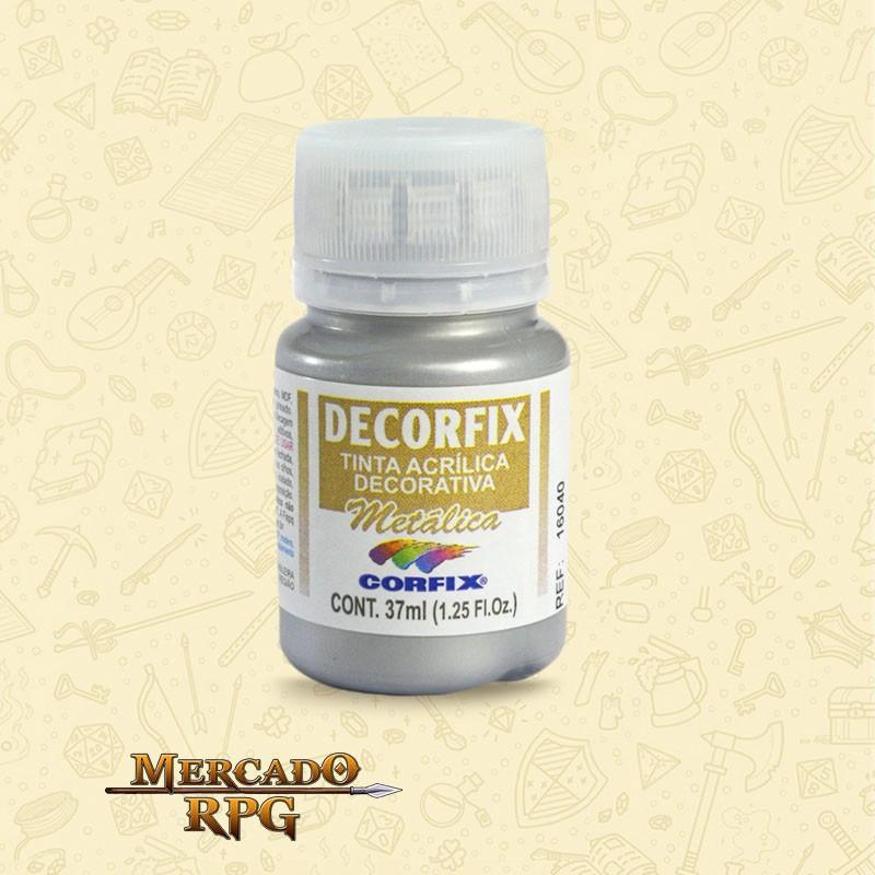 Tinta Metálica Decorfix - Prata 37ml - Corfix - RPG