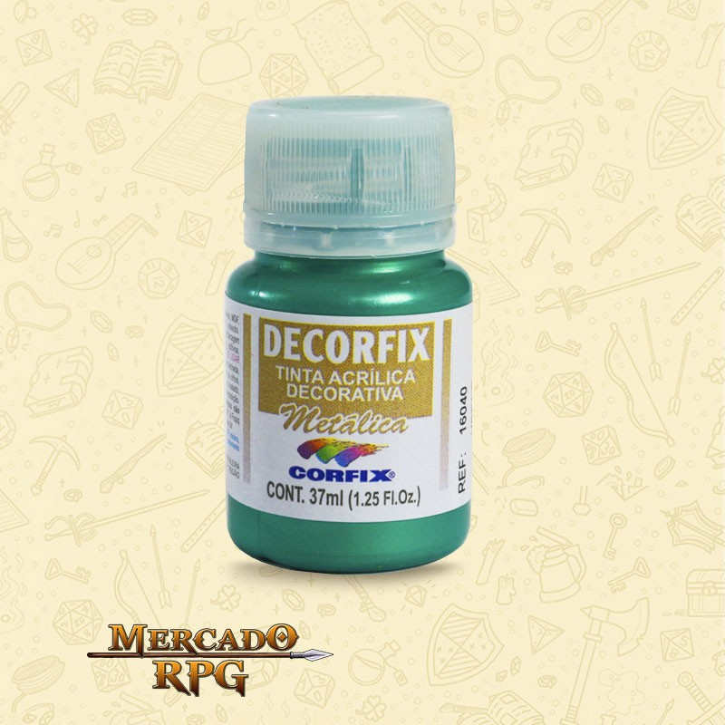 Tinta Metálica Decorfix - Verde 37ml - Corfix - RPG