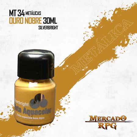 Tinta Aquacolor Metálica - Ouro Nobre 30ml Silverbright - RPG