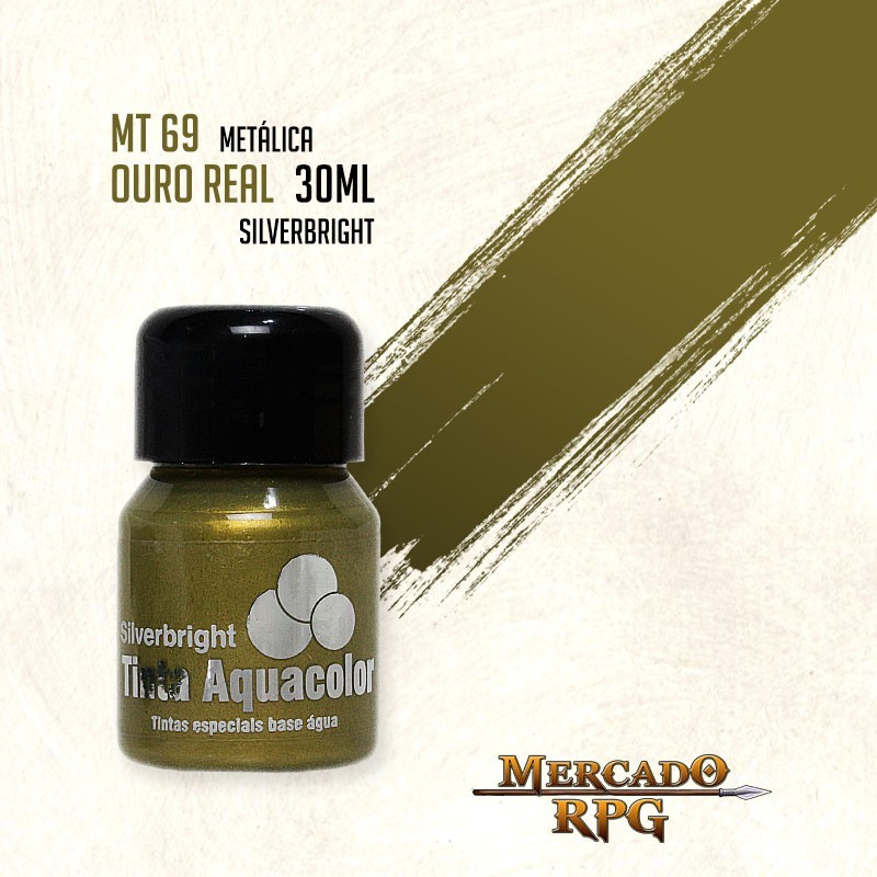 Tinta Aquacolor Metálica - Ouro Real 30ml Silverbright - RPG