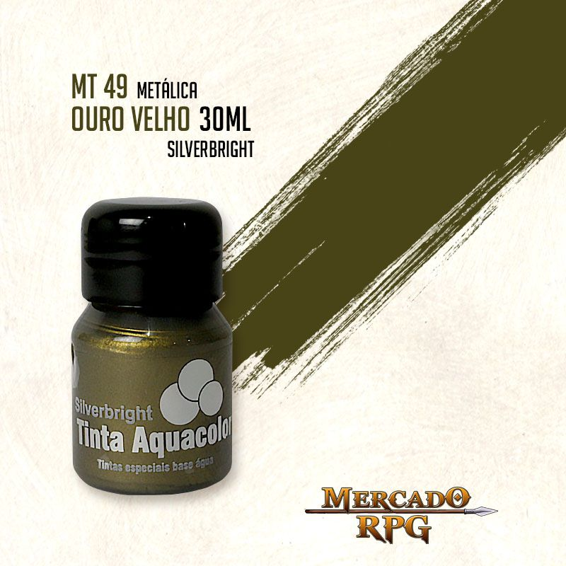 Tinta Aquacolor Metálica - Ouro Velho 30ml  Silverbright - RPG