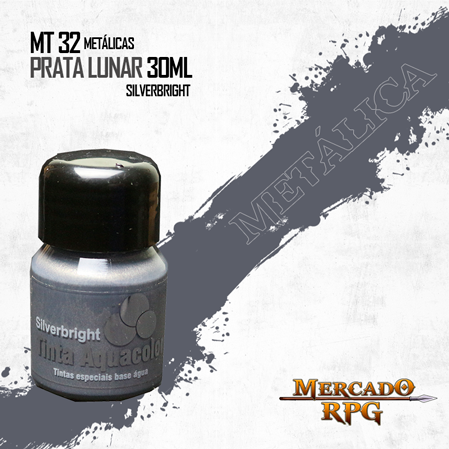Tinta Aquacolor Metálica - Prata Lunar 30ml Silverbright - RPG