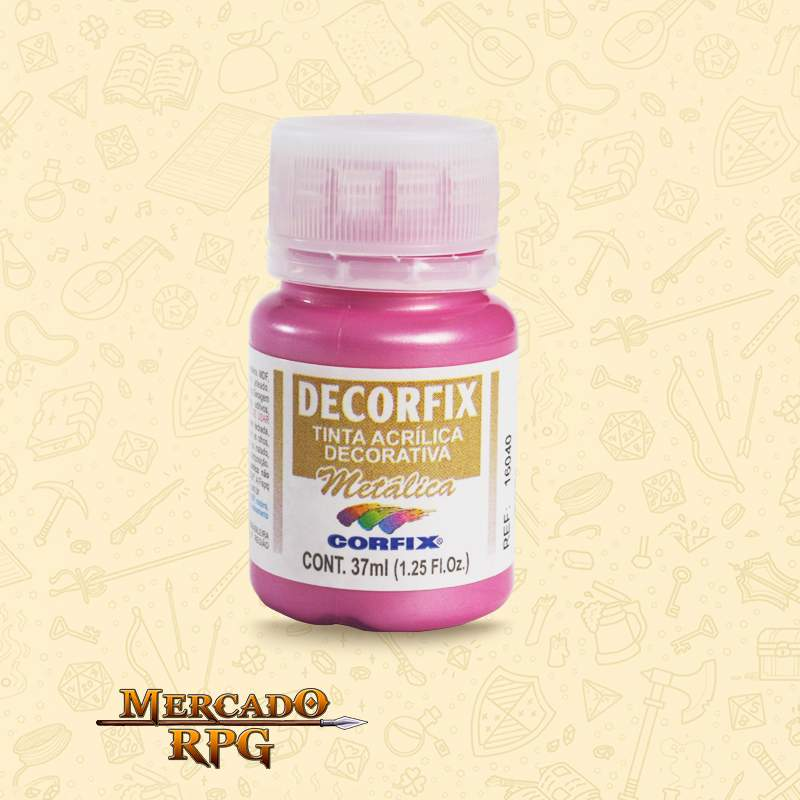 Tinta Metálica Decorfix - Rosa 37ml - Corfix - RPG
