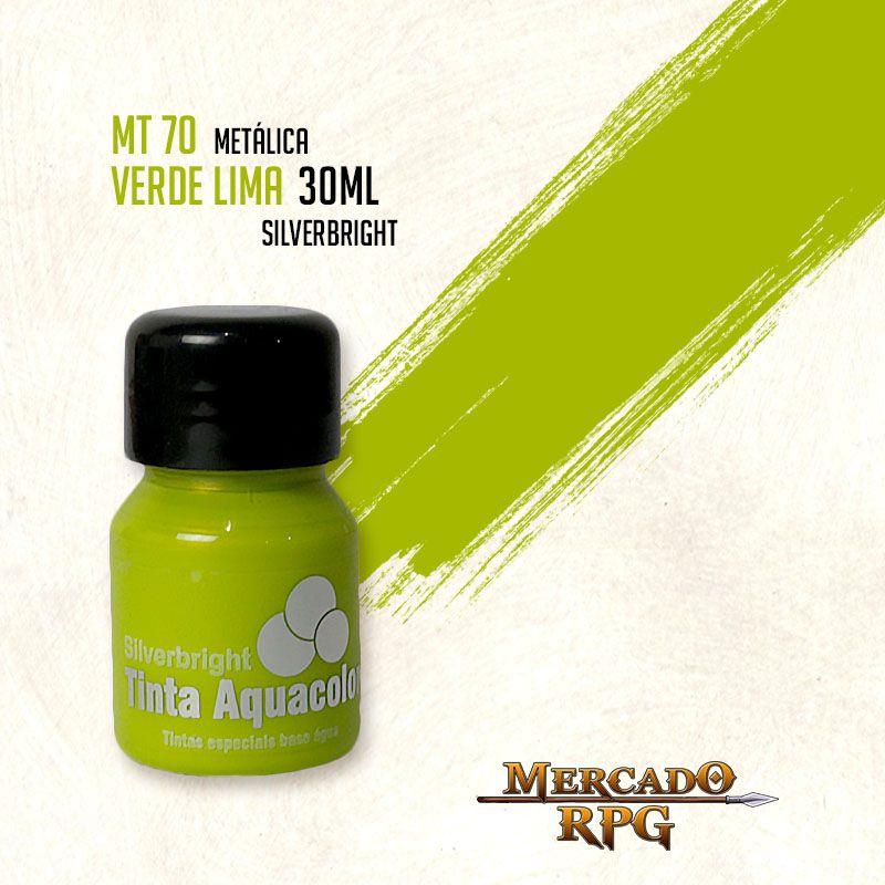 Tinta Aquacolor Metálica - Verde Lima 30ml Silverbright - RPG