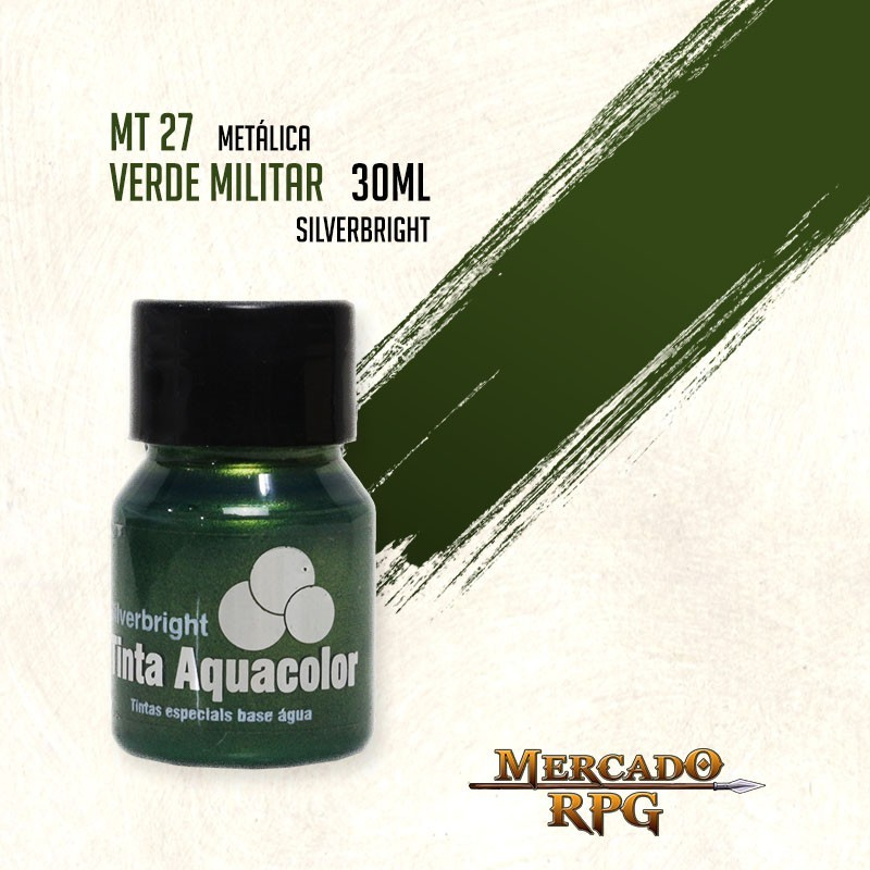 Tinta Aquacolor Metálica - Verde Militar 30ml Silverbright - RPG