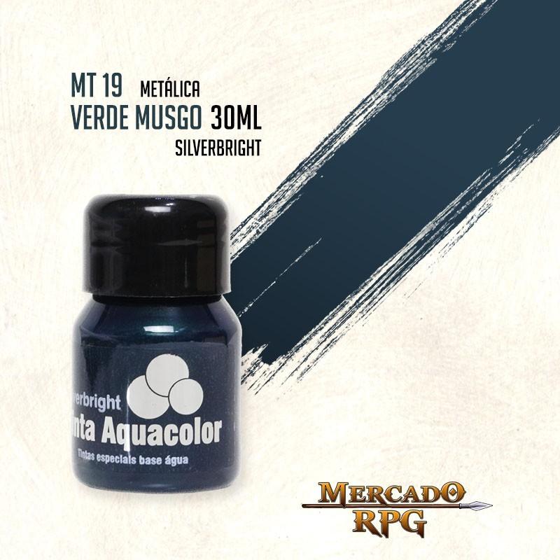Tinta Aquacolor Metálica - Verde Musgo 30ml Silverbright - RPG