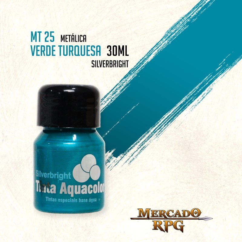 Tinta Aquacolor Metálica - Verde Turquesa 30ml Silverbright - RPG