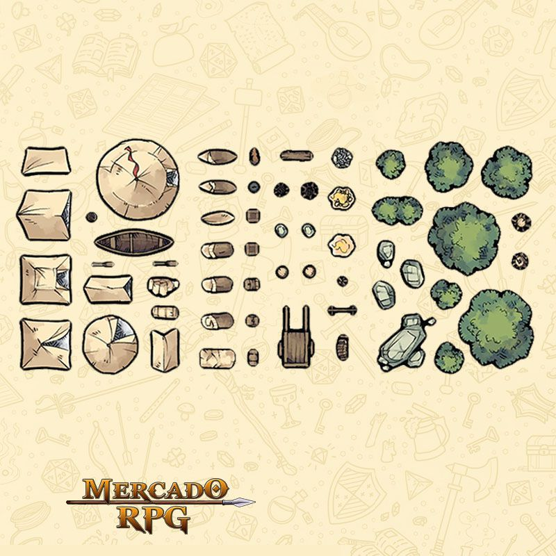 Tokens de cenários - Camping Set - RPG - Mercado RPG