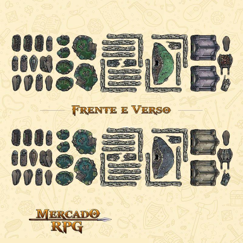 Tokens de cenários - Graveyard Set - RPG  - Mercado RPG