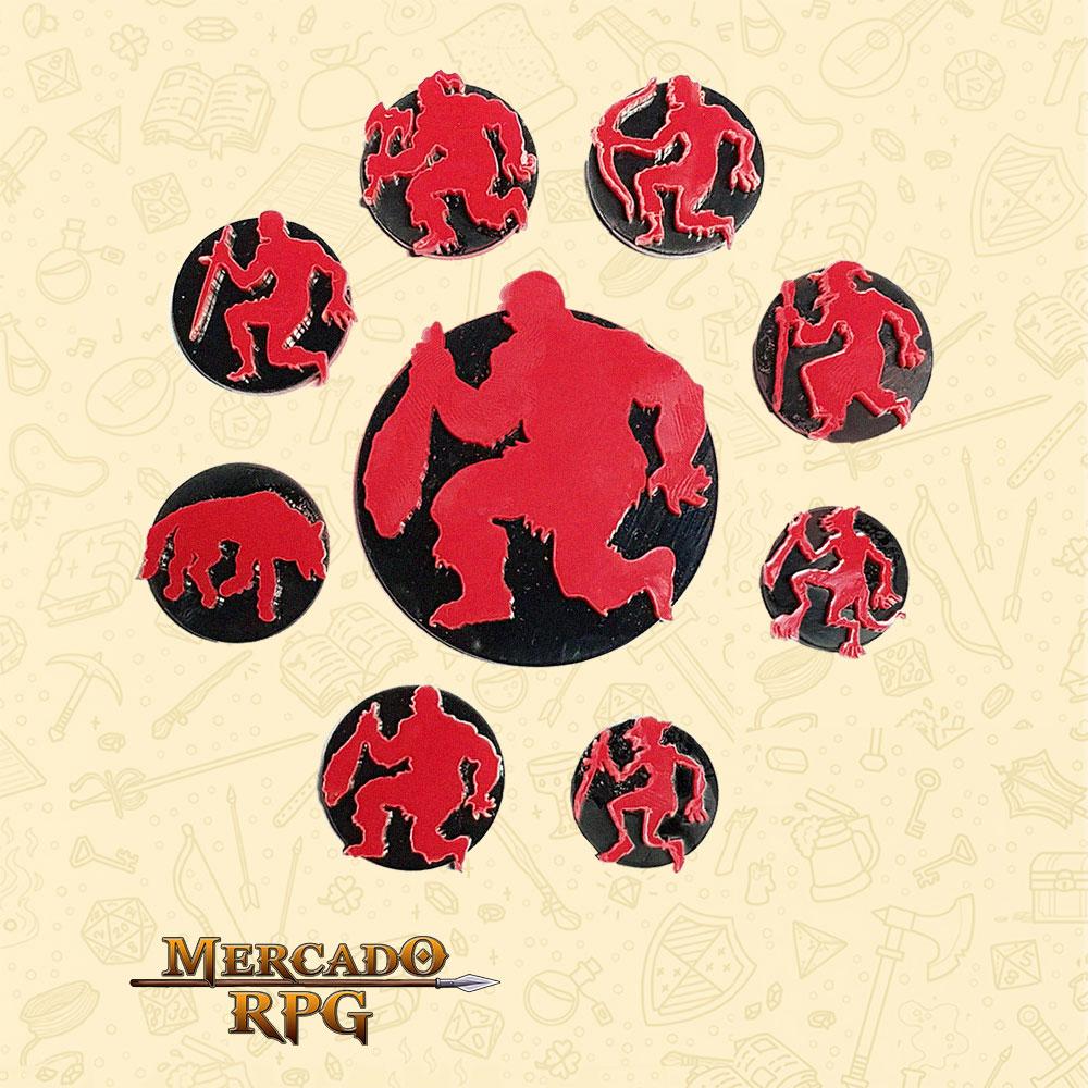 Tokens de RPG Boardgame Wargame - Personagens caídos (9)
