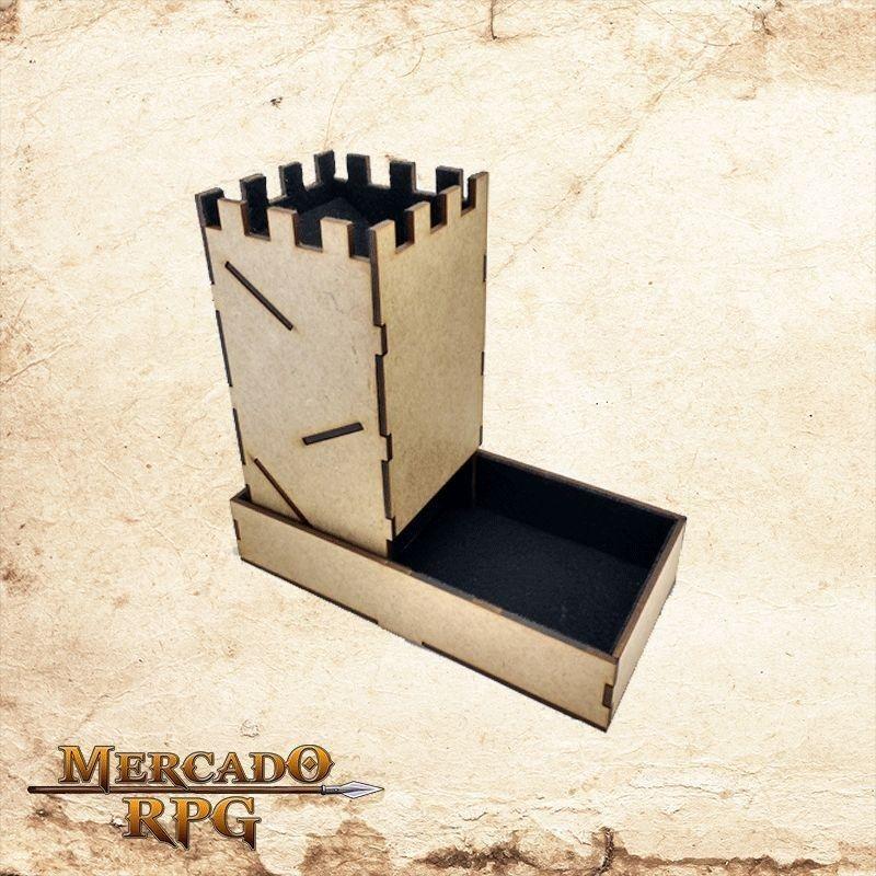 Torre de dados dobrável - preta  - Mercado RPG