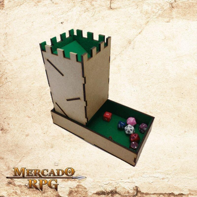 Torre de dados dobrável - verde  - Mercado RPG