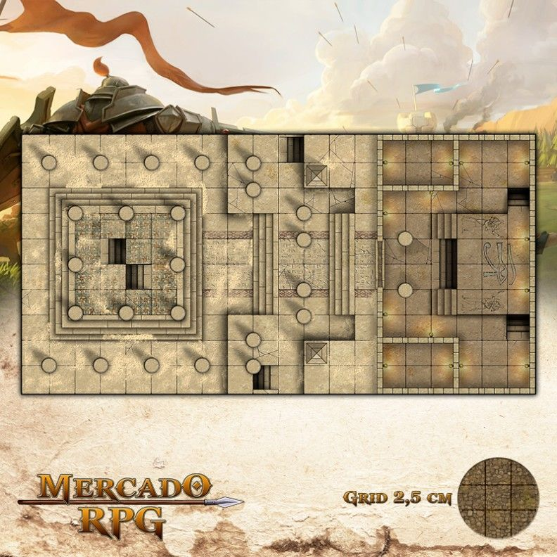 Tumba do Faraó 50x25 Grid de Batalha - RPG Battle Grid D&D